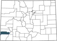 Dolores County, Colorado on a map.