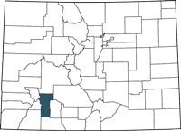 Hinsdale County, Colorado on a map.