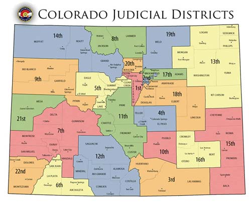 Judicial districts in Colorado.