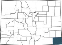Find Baca County, Colorado on a map.