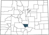 Custer County, Colorado on a map.