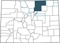 Weld County, Colorado on a map.